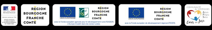 Logos de l'Union Européenne, du Fonds européen agricole pour le développement rural (FEADER), de la région Bourgogne Franche-Comté, la communauté de communes Arbois Poligny Salins Coeur-du-Jura.